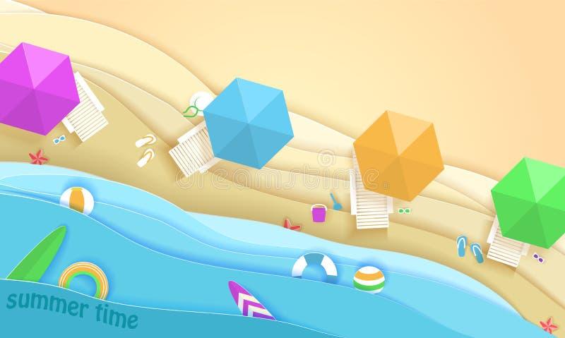 Praia tropical no estilo de papel da arte Ilustração do corte do papel da opinião superior do vetor Molde do cartaz do conceito d ilustração royalty free