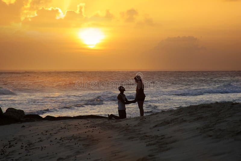 Praia tropical no por do sol fotos de stock