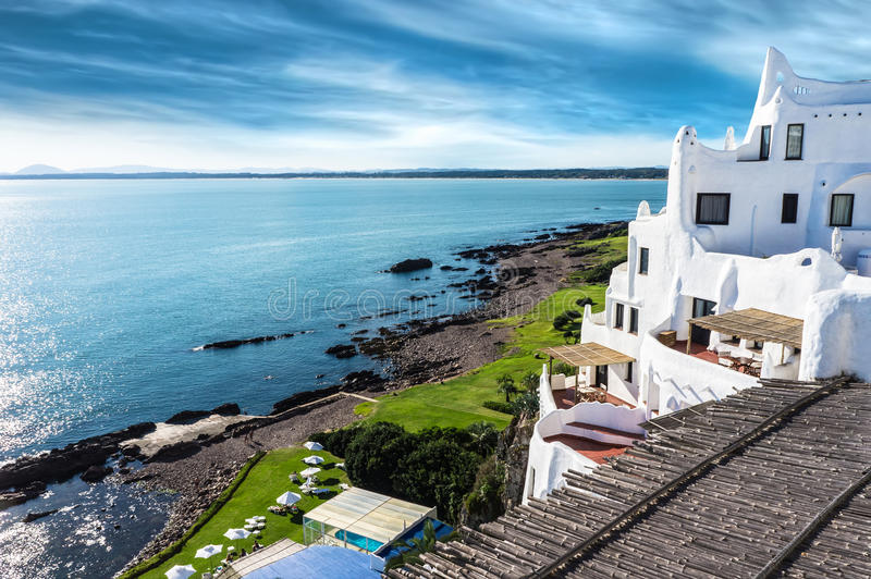Praia Uruguai de Casapueblo Punta del Este foto de stock