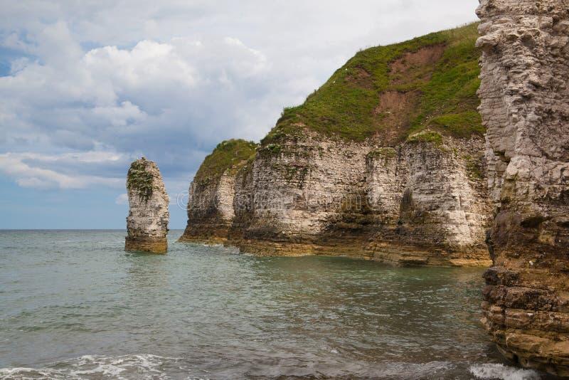 Praia vazia na cabeça de Flamborough, Bridlington em Yorkshire, Engla imagens de stock royalty free