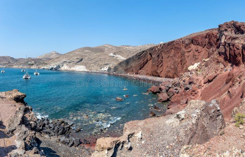 Praia vermelha de Akrotiri - ilha de Santorini Cyclades - Mar Egeu - GR fotos de stock