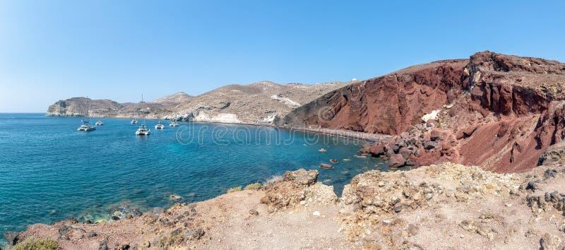 Praia vermelha de Akrotiri - ilha de Santorini Cyclades - Mar Egeu - GR imagem de stock royalty free