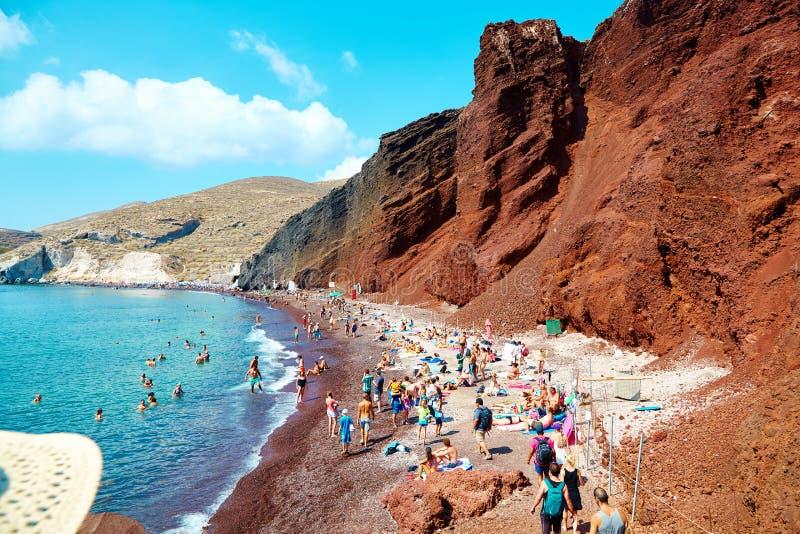 Praia vermelha de Santorini, foto tomada no 2á de setembro de 2016 fotos de stock