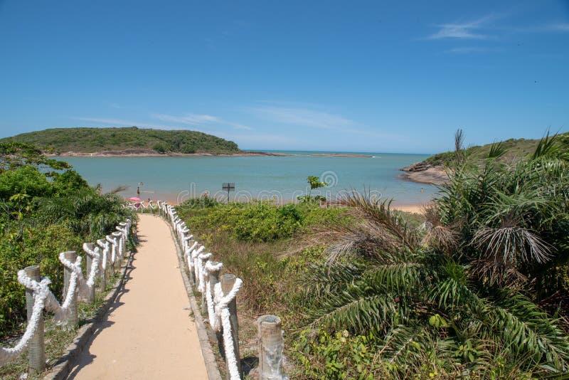 Praia Vitoria ES de Bacutia em Guarapari Brasil imagem de stock