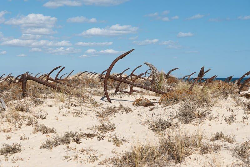 Praiaen gör Barril som är ett historiskt område med dussintals royaltyfri fotografi