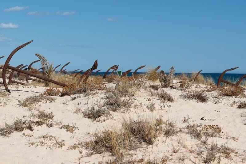 Praiaen gör Barril som är ett historiskt område med dussintals arkivbilder