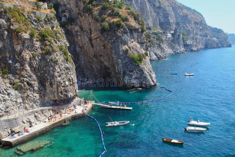Praiano vicino a Positano, costa Italia di Amalfi fotografia stock libera da diritti