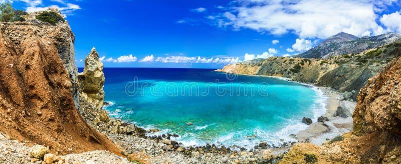 Praias bonitas selvagens de Grécia fotografia de stock