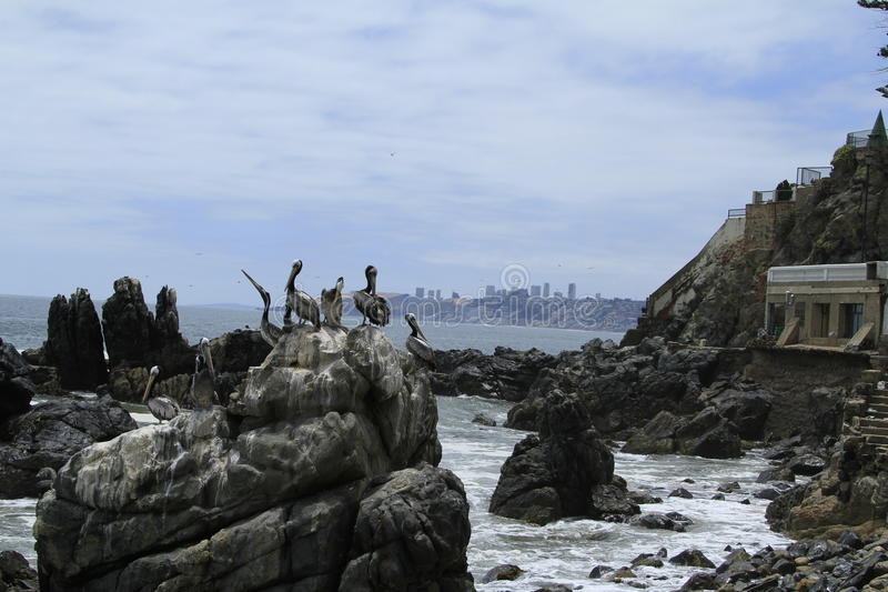 Praias de Valparaiso, Vina Del Mar, o Chile foto de stock