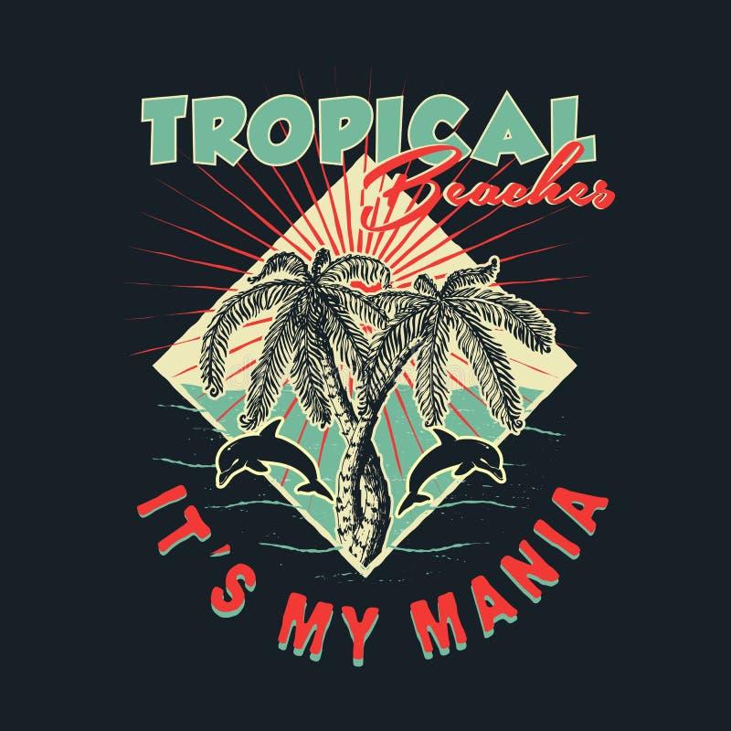 Praias tropicais handmade ilustração royalty free