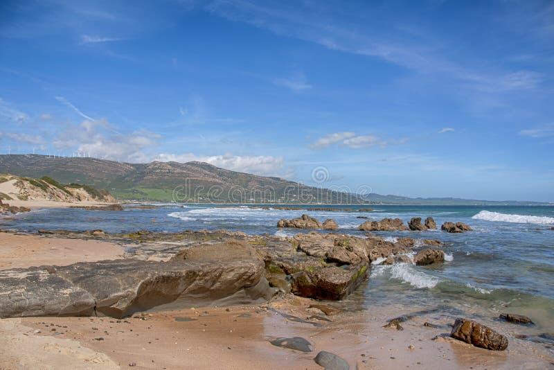 Praias virgens bonitas da Andaluzia, valdevaqueros na prov?ncia de Cadiz foto de stock royalty free