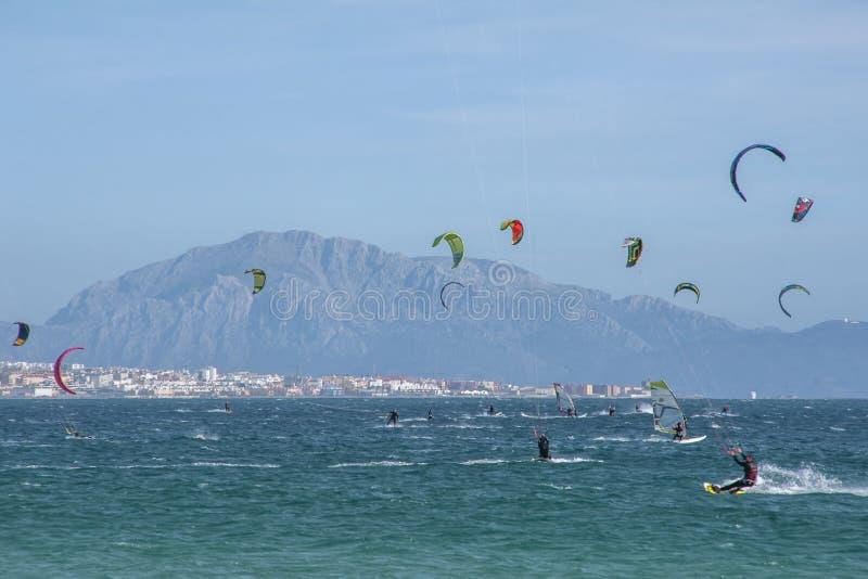 Praias virgens bonitas da Andaluzia, valdevaqueros na prov?ncia de Cadiz imagem de stock