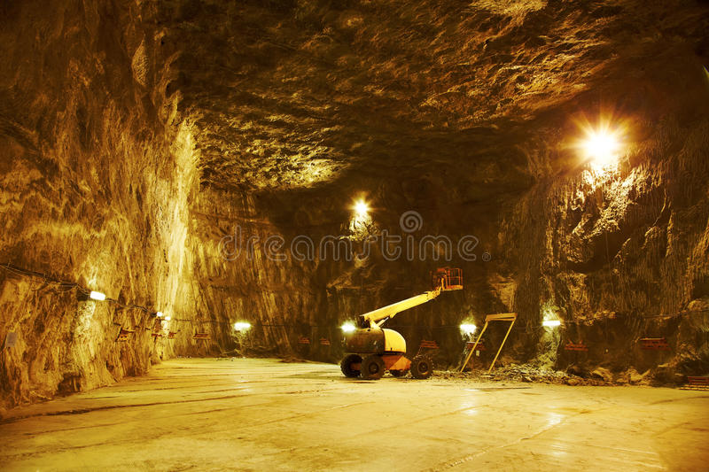 Praid salt mine. Works for the enlargement of the salt mine open for public at Praid, Romania stock image