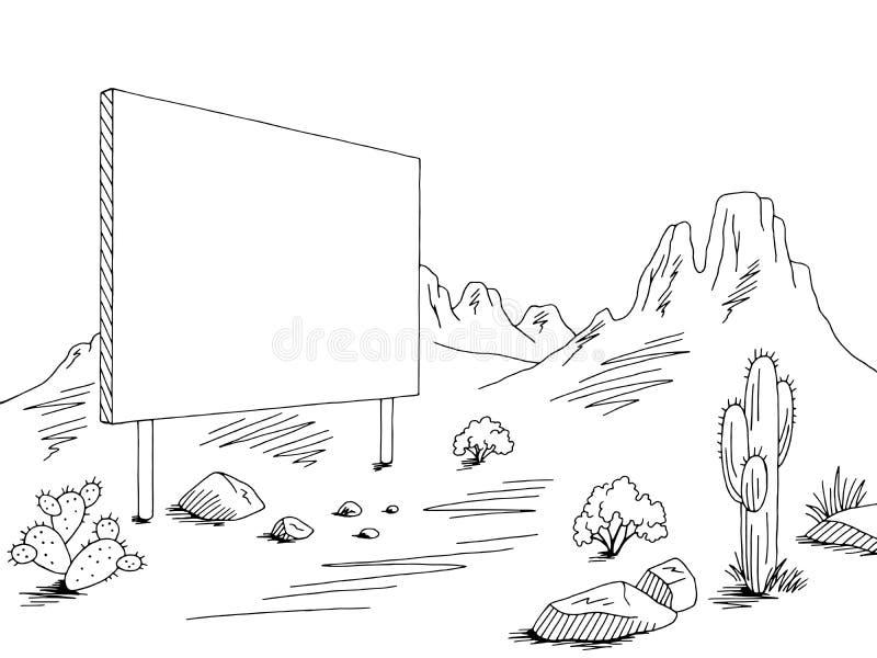 Prairie billboard graphic black white desert landscape sketch illustration vector. Prairie billboard graphic black white desert landscape sketch vector vector illustration