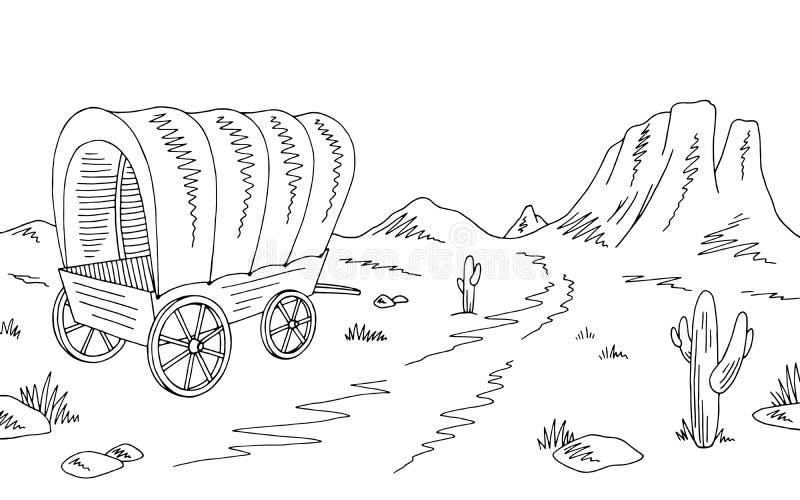 Prairie covered wagon graphic black white American desert sketch landscape illustration vector. Prairie covered wagon graphic black white American desert sketch stock illustration