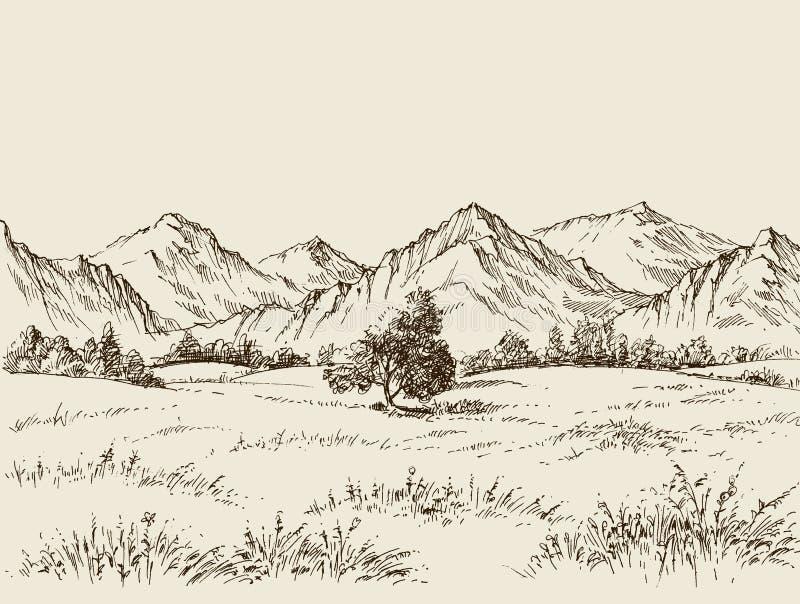 Prairie en bergen het trekken royalty-vrije illustratie