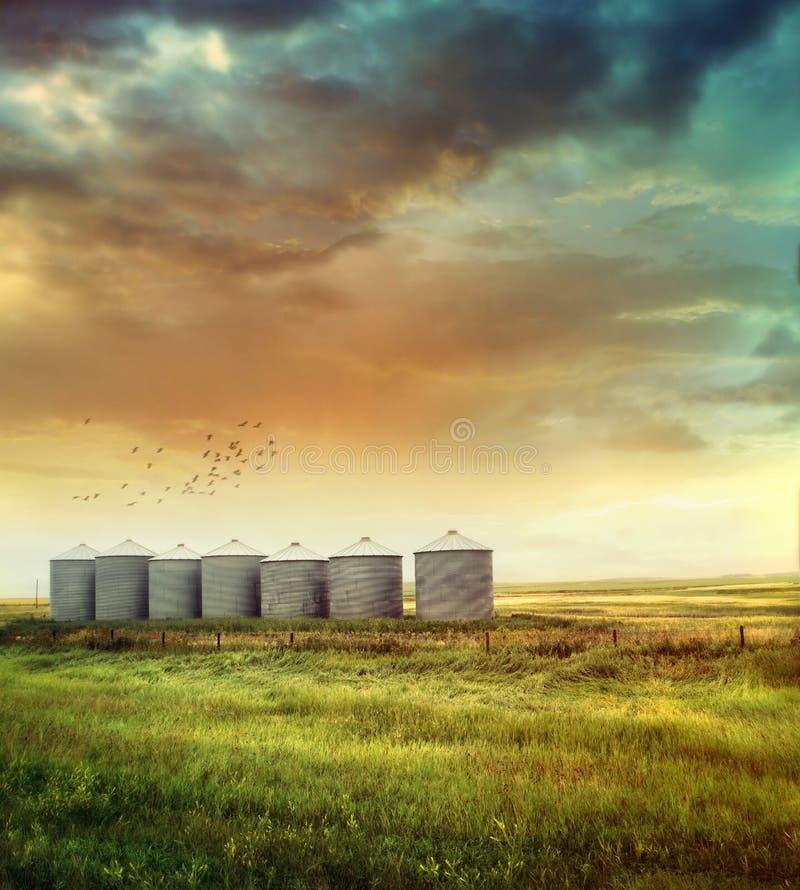 Free Prairie Grain Silos In Late Summer Stock Photography - 29299382