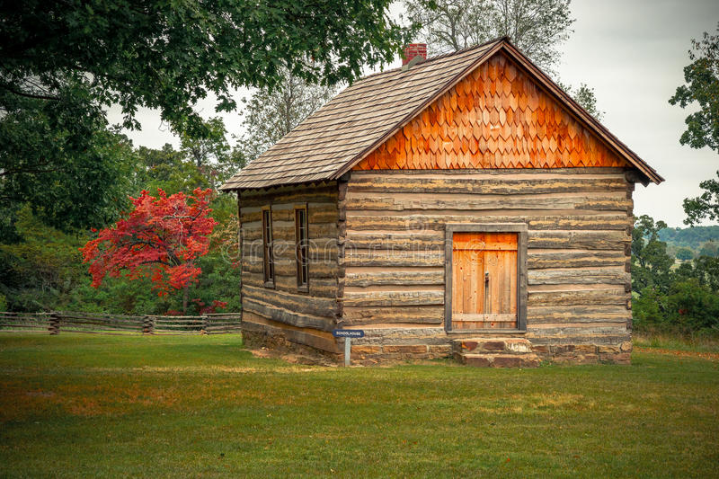 Prairie Grove Battlefield State Park. The Schoolhouse is a historic building from the Civil War period and is located at the Prairie Grove Battlefield State Park stock photos