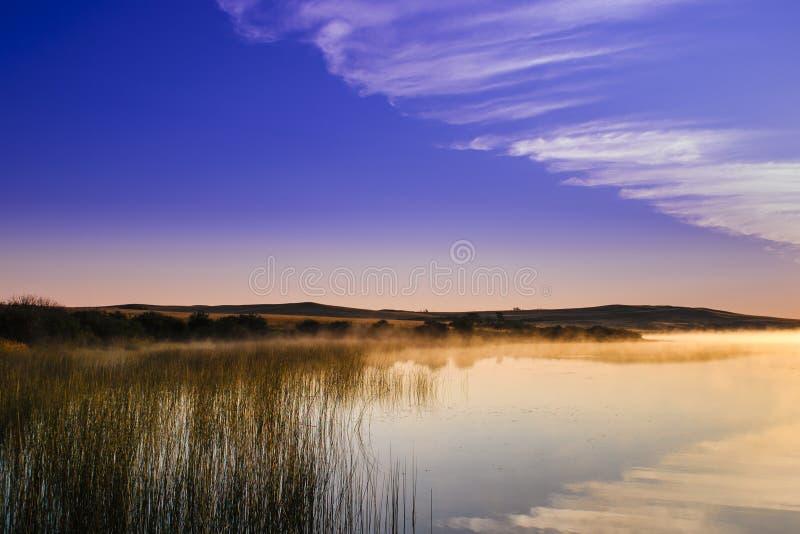 Prairie Lakes at sunrise stock photo