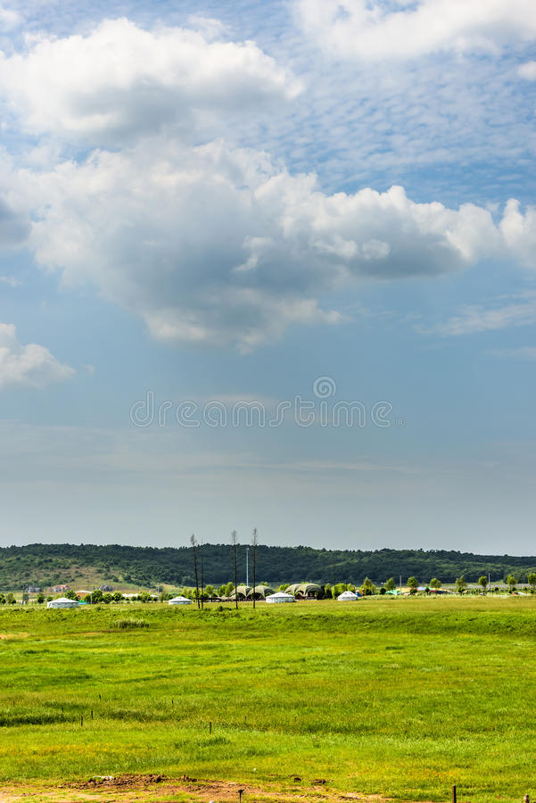 The prairie and mongolian yurt. This photo was taken in Barolo Valley of Ecology ,Nanjing city, Jiangsu province, china royalty free stock images