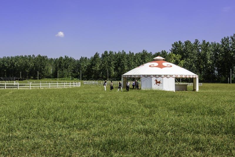 The prairie and mongolian yurt royalty free stock photos