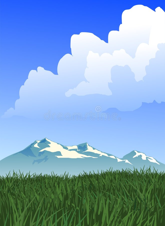 Prairie and Mountain Landscape. Landscape vector illustration of a mountain view set behind a stretch of prairie grass. Large white cloud float overhead vector illustration