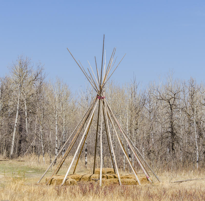 Prairie Native Teepee Frame. North American indigenous prairie Teepee Frame royalty free stock images