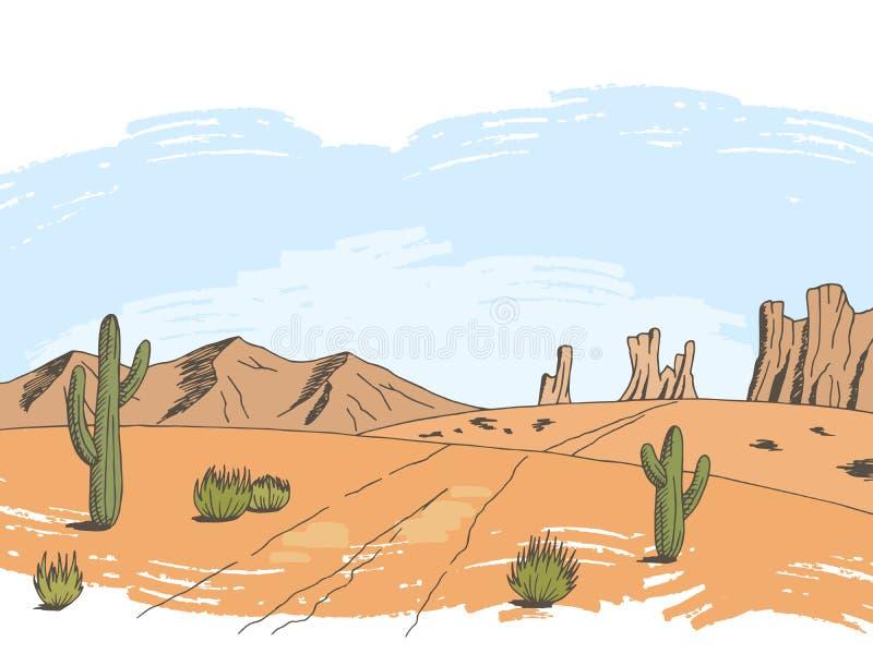 Prairie road color graphic American desert sketch landscape illustration vector. Prairie road color graphic American desert sketch landscape illustration vector illustration