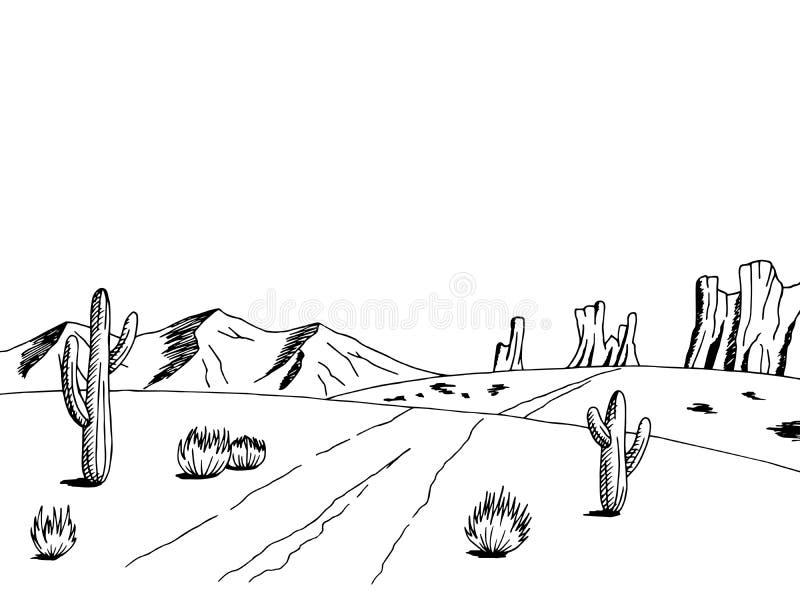 Prairie road graphic art American desert black white landscape sketch illustration. Vector vector illustration