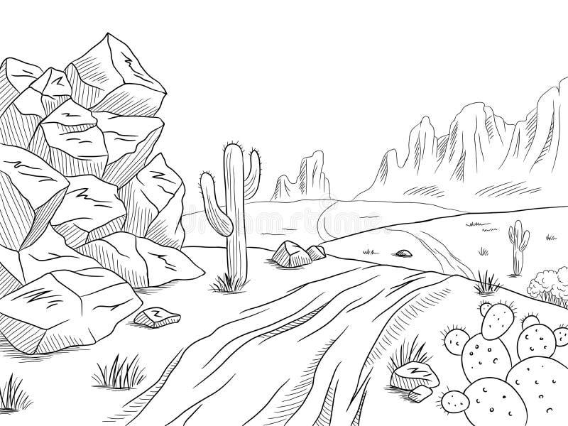 Prairie road graphic black white desert landscape sketch illustration vector. Prairie road graphic black white desert landscape sketch vector vector illustration