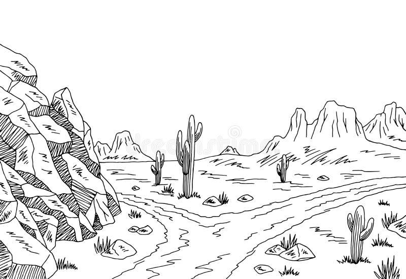 Prairie road graphic black white landscape sketch illustration. Vector vector illustration