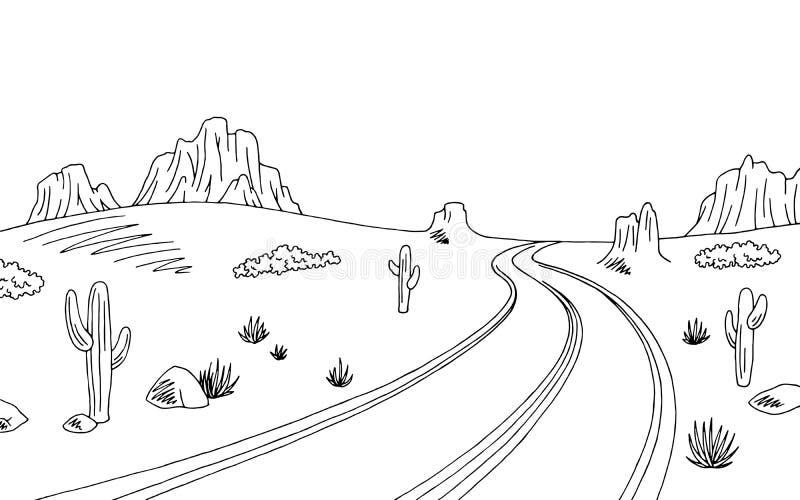Prairie road graphic black white landscape sketch illustration. Vector stock illustration
