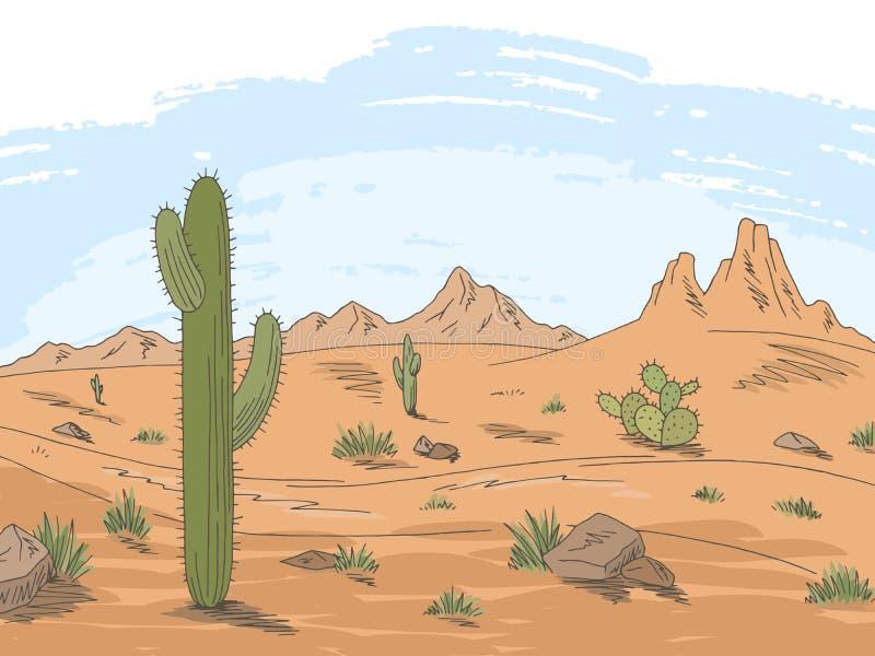 Prairie road graphic color desert landscape sketch illustration vector. Prairie road graphic color desert landscape sketch vector royalty free illustration