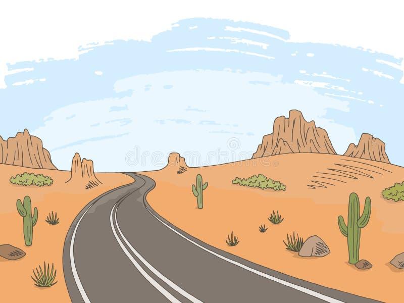 Prairie road graphic color landscape sketch illustration vector. Prairie road graphic color landscape sketch vector vector illustration