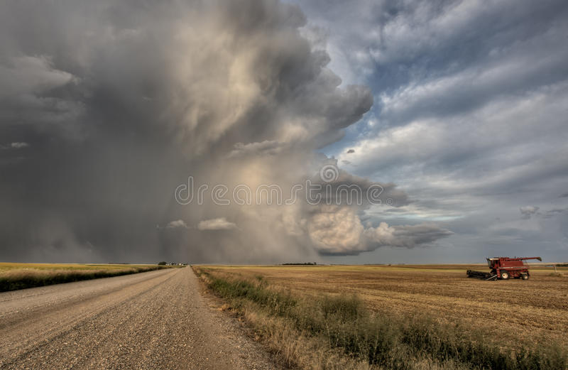 Prairie Road Storm Clouds royalty free stock photo