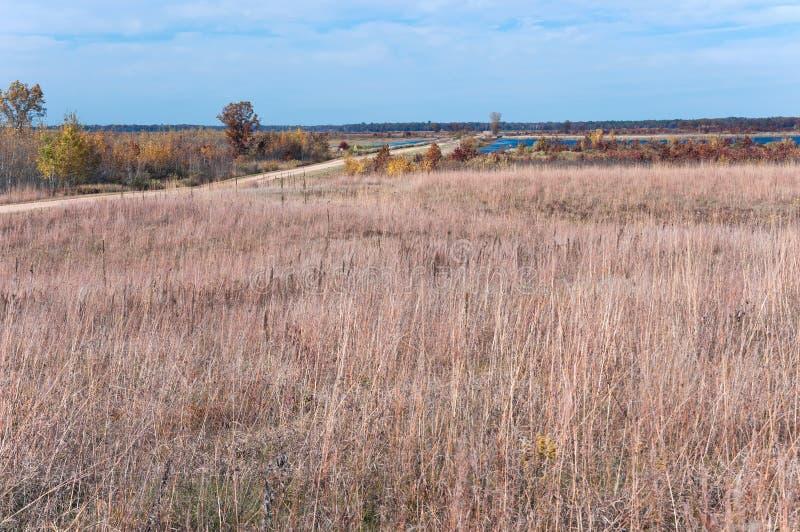 Prairieweg bij Necedah-Toevluchtsoord stock afbeelding