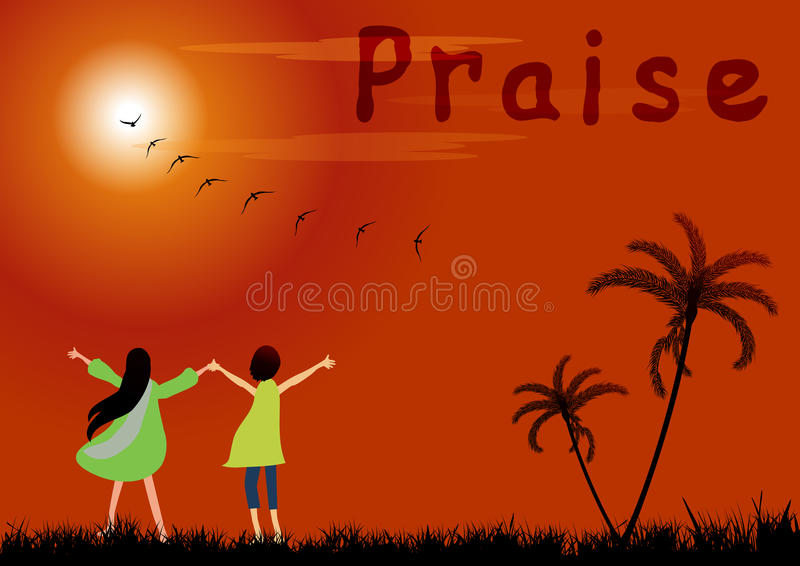 Praise. Boy and girl Praise the Lord at sunset royalty free illustration