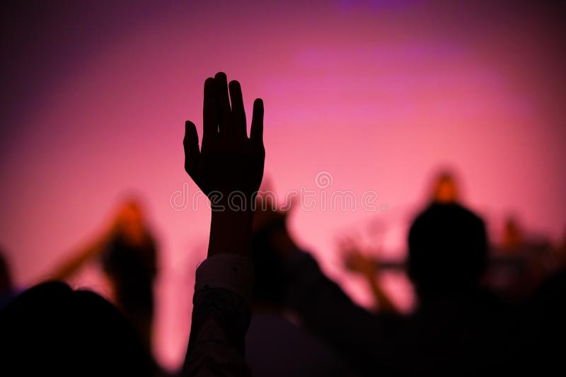 Praise hand up in church royalty free stock photos