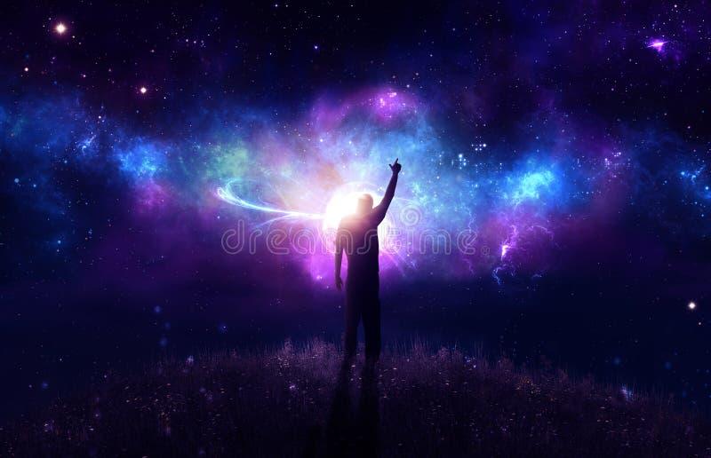 Praise with nebula stock illustration
