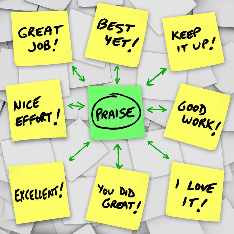 Download Praise Positive Reviews And Comments On Sticky Notes Stock Illustration - Image: 31864999