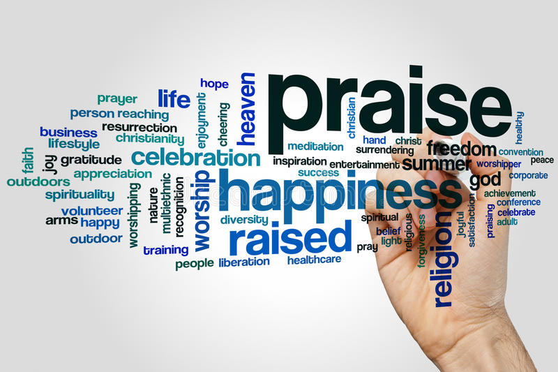 Praise word cloud stock image