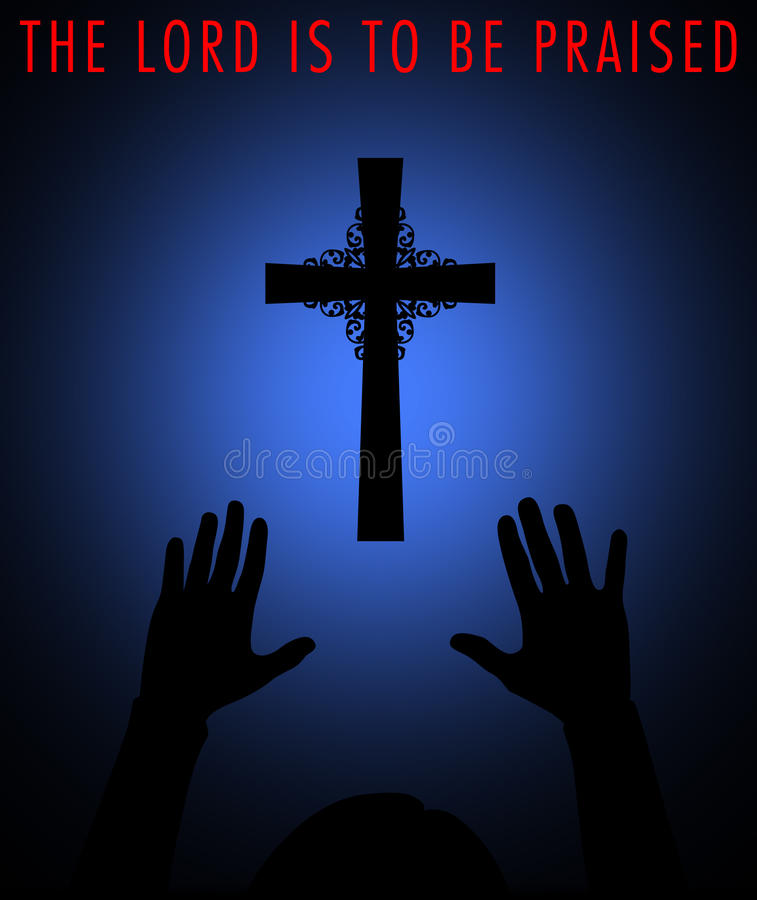 Praising God. Silhouette of a cross with worshipper vector illustration