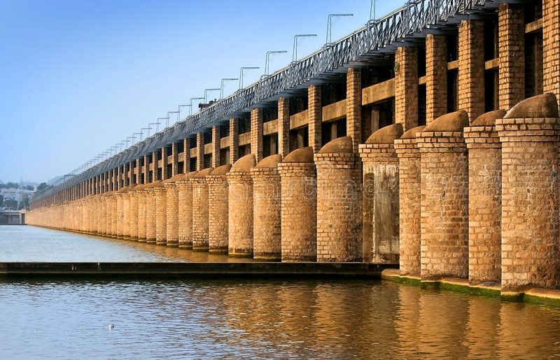 Prakasam Barrage In India. Historic prakasam barrage on krishna river in vijayawada india stock photography