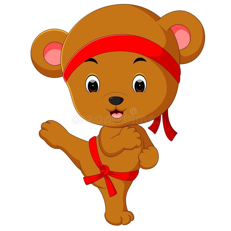 Praktiserande karate för gullig björn stock illustrationer