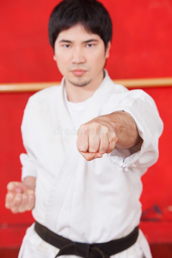 Praktiserande karate för man royaltyfria foton