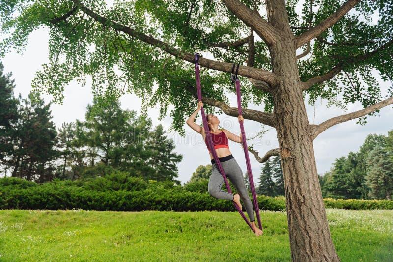 Praktiserande klipsk yoga för idrotts- kvinna genom att använda trädet på ny luft fotografering för bildbyråer