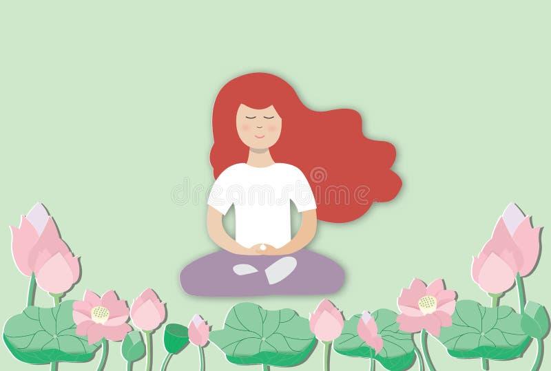 Praktiserande meditation f?r ung kvinna royaltyfri illustrationer