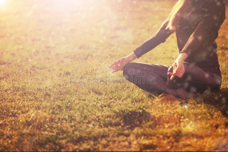 Praktiserande morgonmeditation för kvinna i natur royaltyfri foto