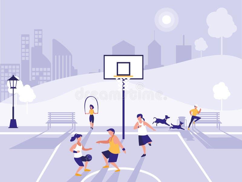 Praktiserande sport för folk i basketfält vektor illustrationer