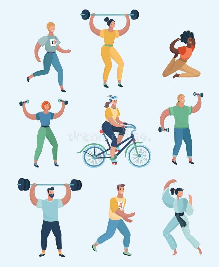 Praktiserande sportar för grupp människor Uppsättning av människor royaltyfri illustrationer